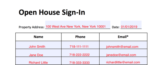 simple real estate open house sign in sheet eforms free fillable