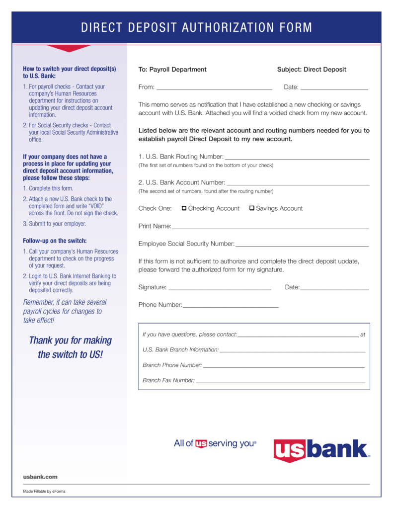 free u.s. bank direct deposit authorization form - pdf | eforms