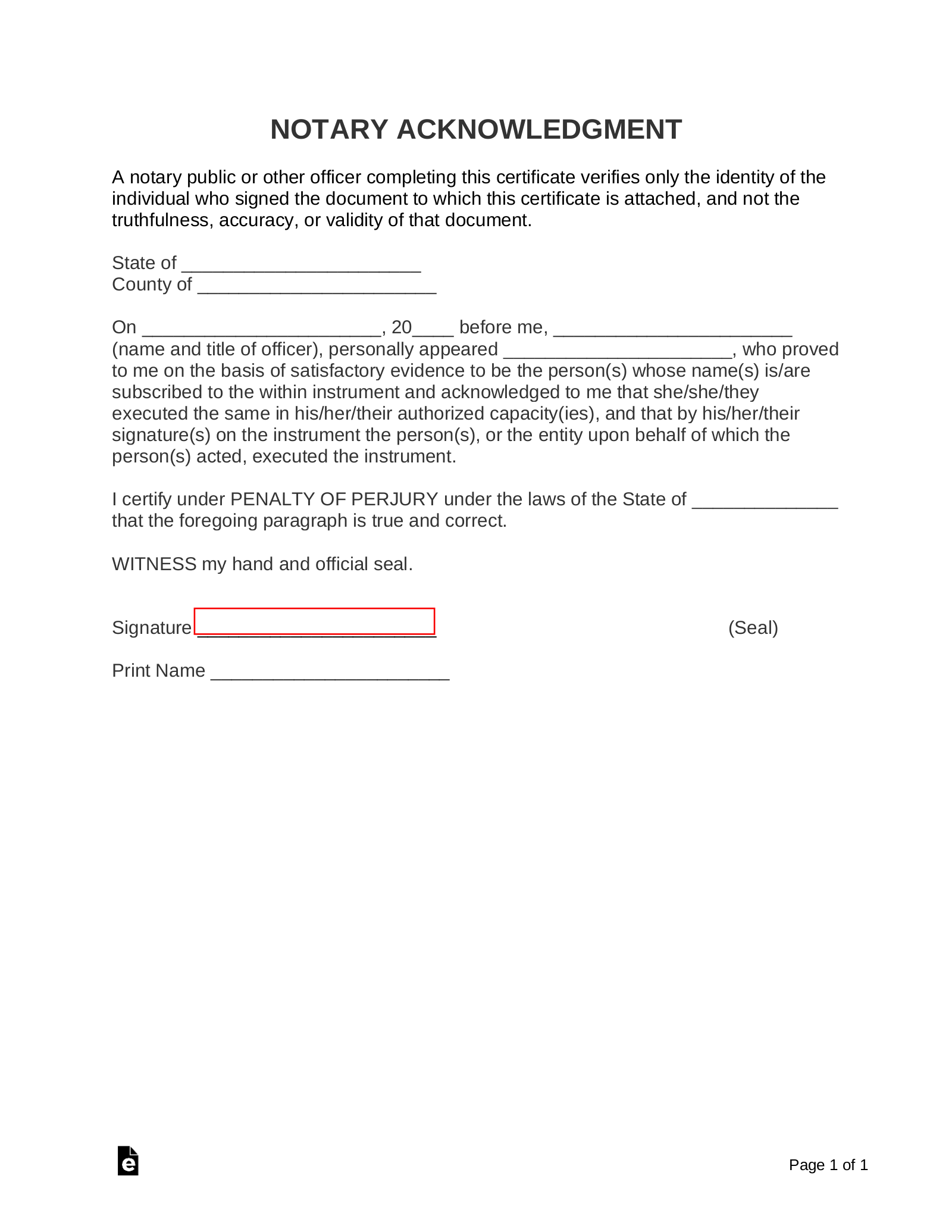 free notary form template  sample notary form - Zelay.wpart.co