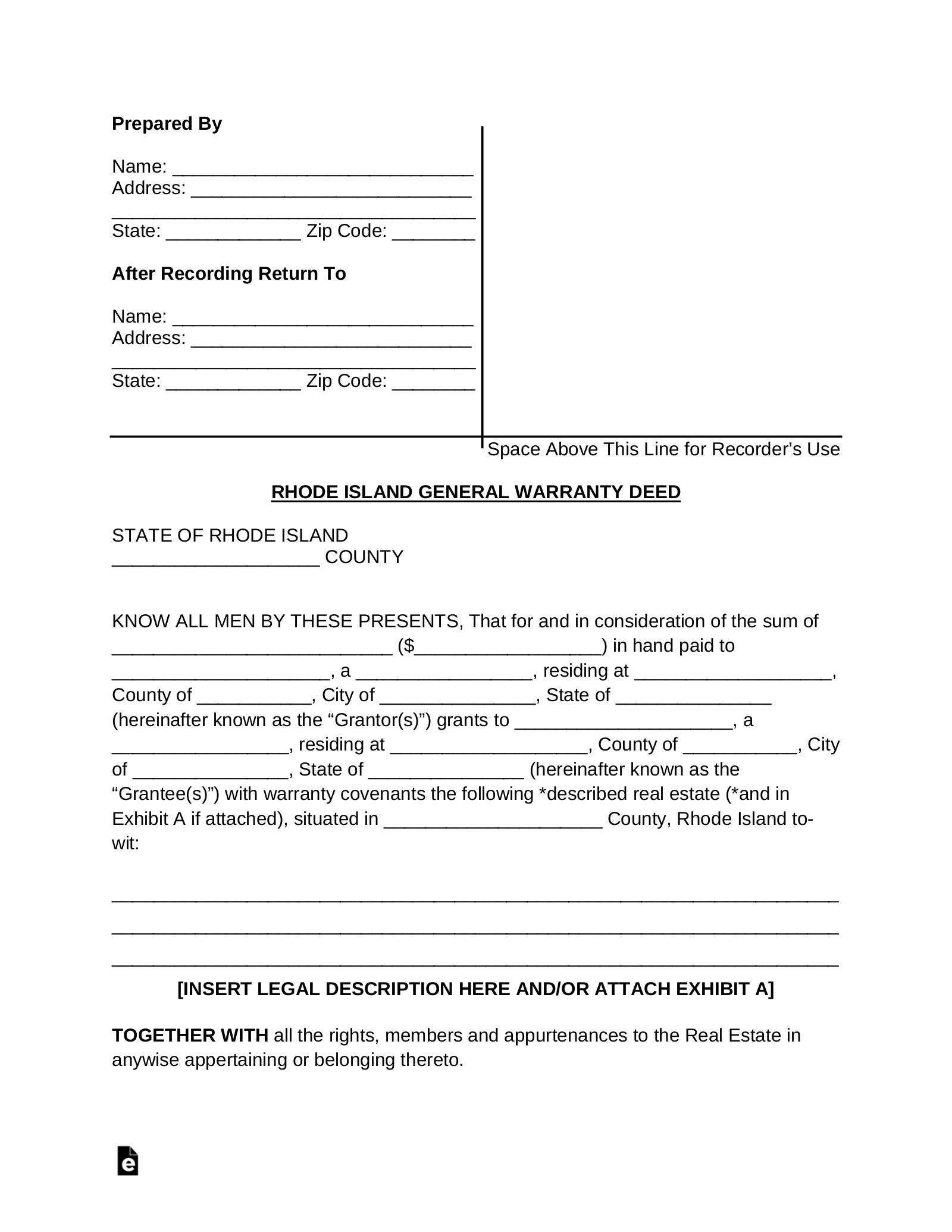 Free Rhode Island General Warranty Deed Form Pdf Word Eforms