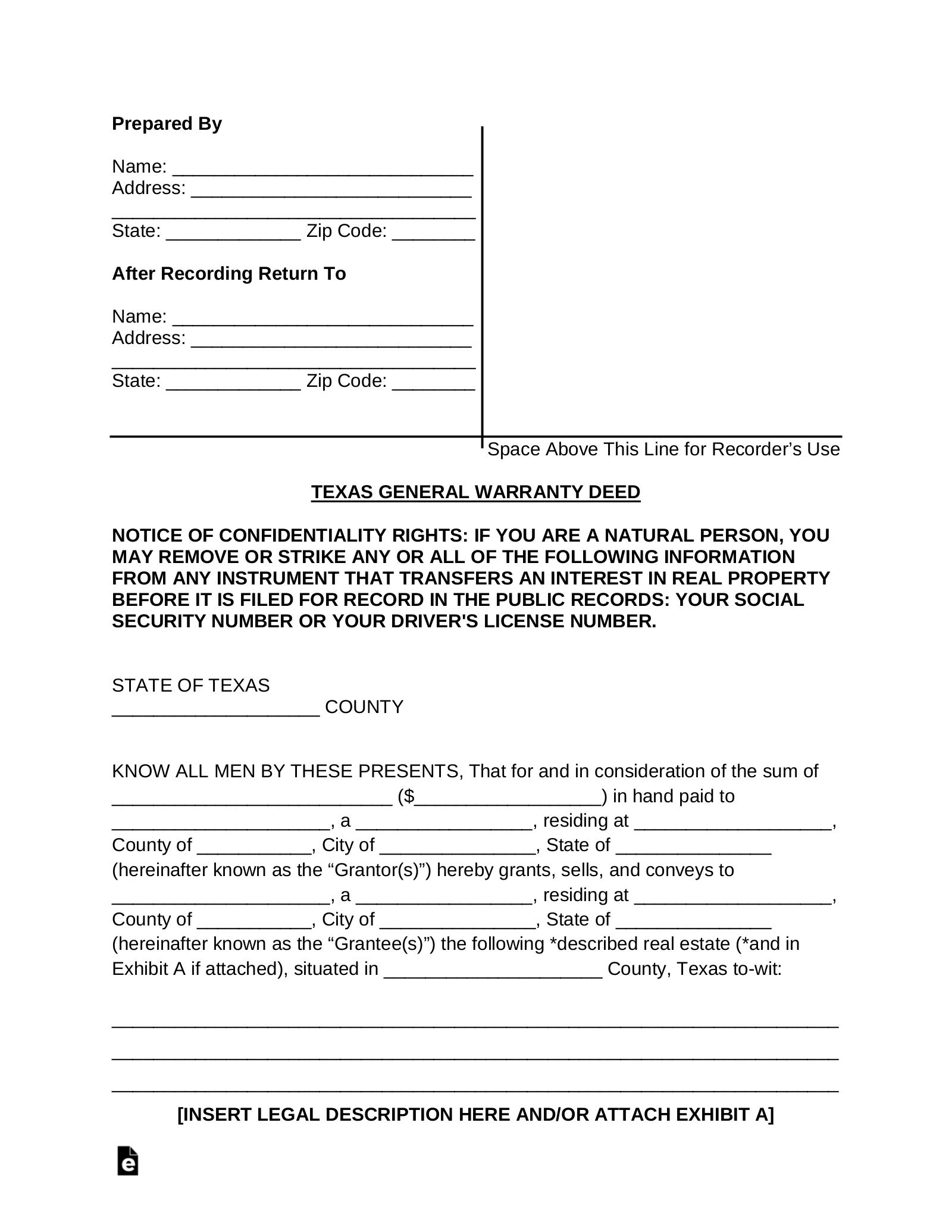 photograph about Printable Warranty Deed Texas referred to as Cost-free Texas Overall Assure Deed Style - PDF Phrase eForms