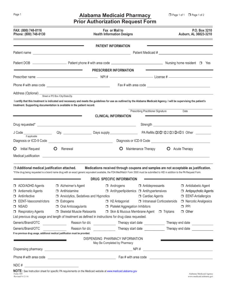 Free Alabama Medicaid Prior (Rx) Authorization Form   PDF | EForms ...