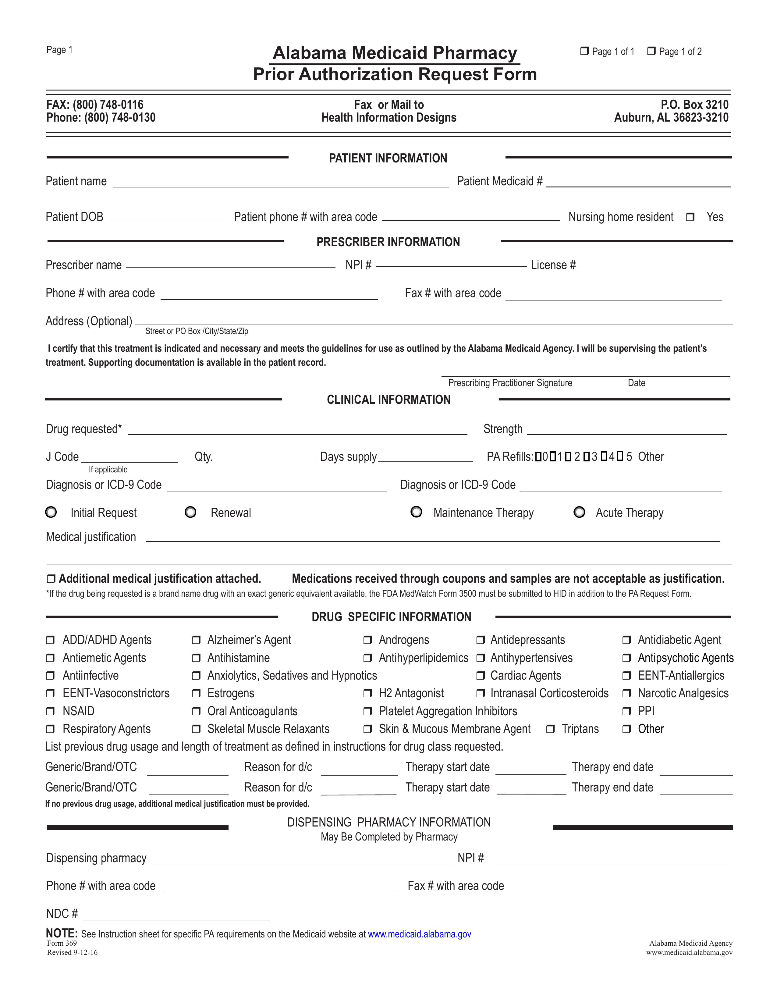 Free Alabama Medicaid Prior (Rx) Authorization Form - PDF ...