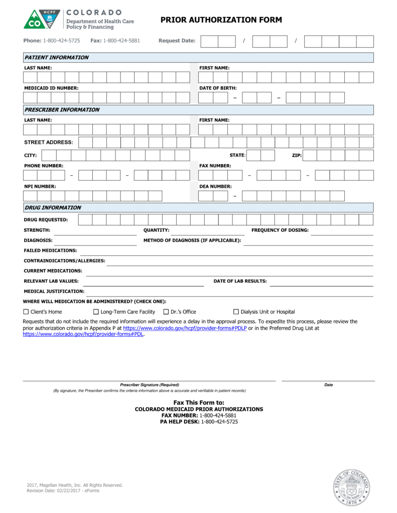 Free Colorado Medicaid Prior (Rx) Authorization Form - PDF ...