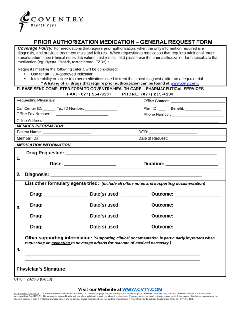 coventry health care pa forms Free Coventry Health Care Prior (Rx) Authorization Form - PDF ...