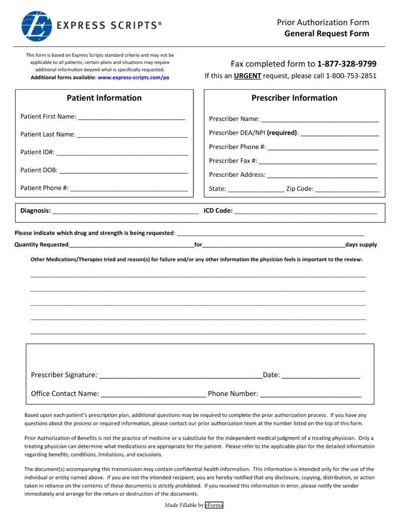 express scripts fax forms for physicians Free Express Scripts Prior (Rx) Authorization Form - PDF | eForms ...