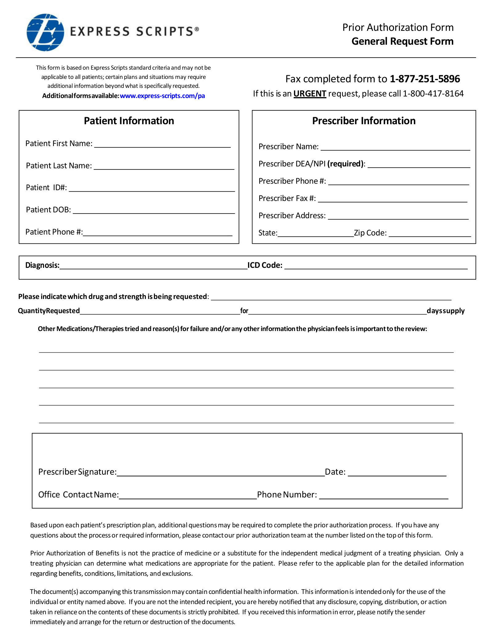 Free Express Scripts Prior (Rx) Authorization Form - PDF