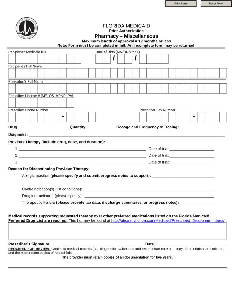 free florida medicaid prior  rx  authorization form