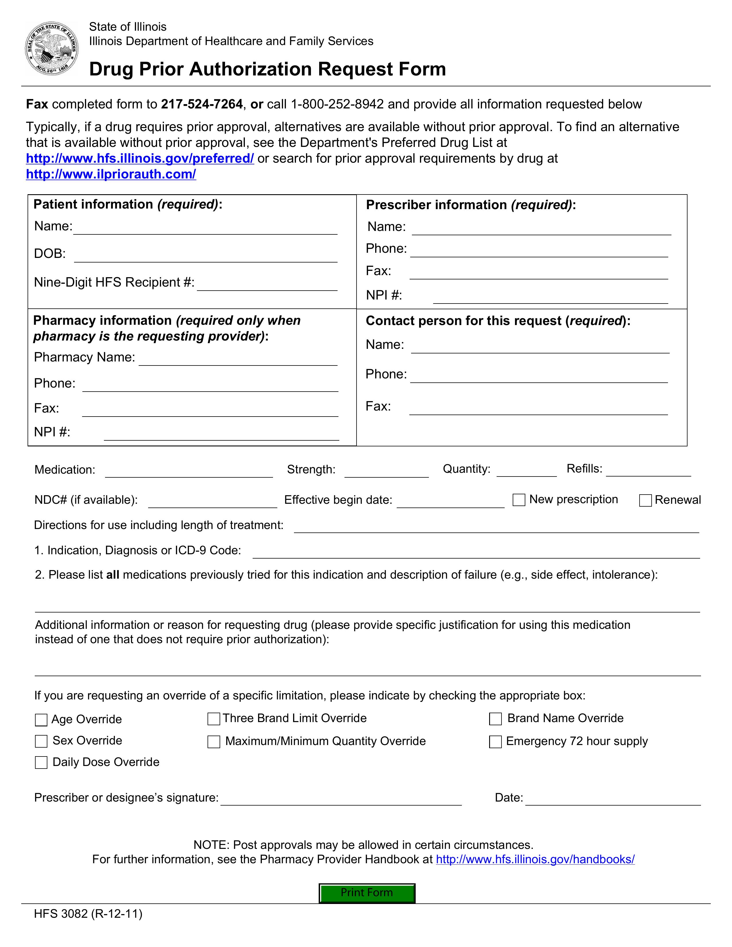 Free Illinois Medicaid Prior Rx Authorization Form Pdf