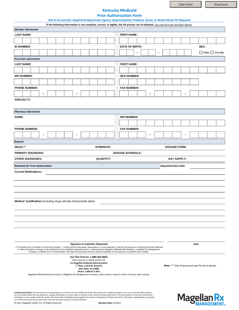 Free Kentucky Medicaid Prior Rx Authorization Form Pdf Eforms