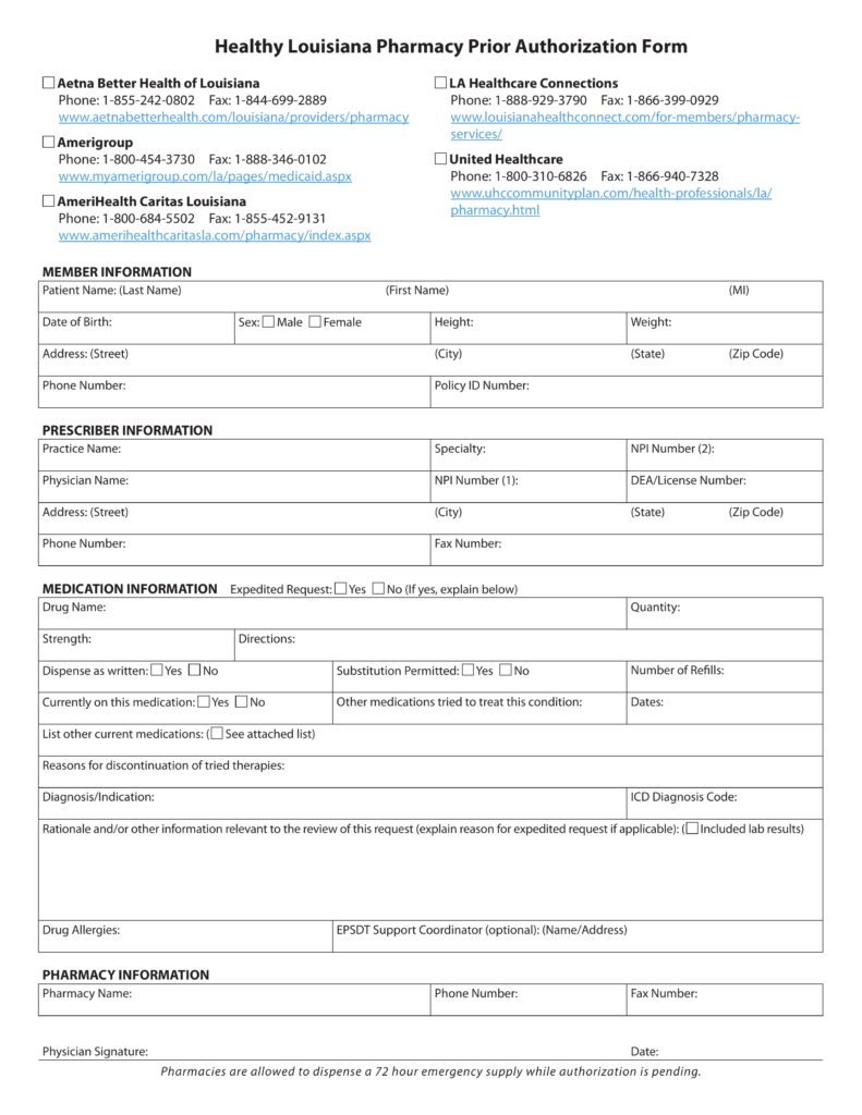 Free Louisiana Medicaid Prior (Rx) Authorization Form - PDF ...