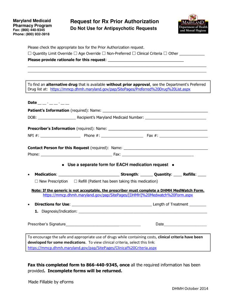 Free Maryland Medicaid Prior (Rx) Authorization Form - PDF ...