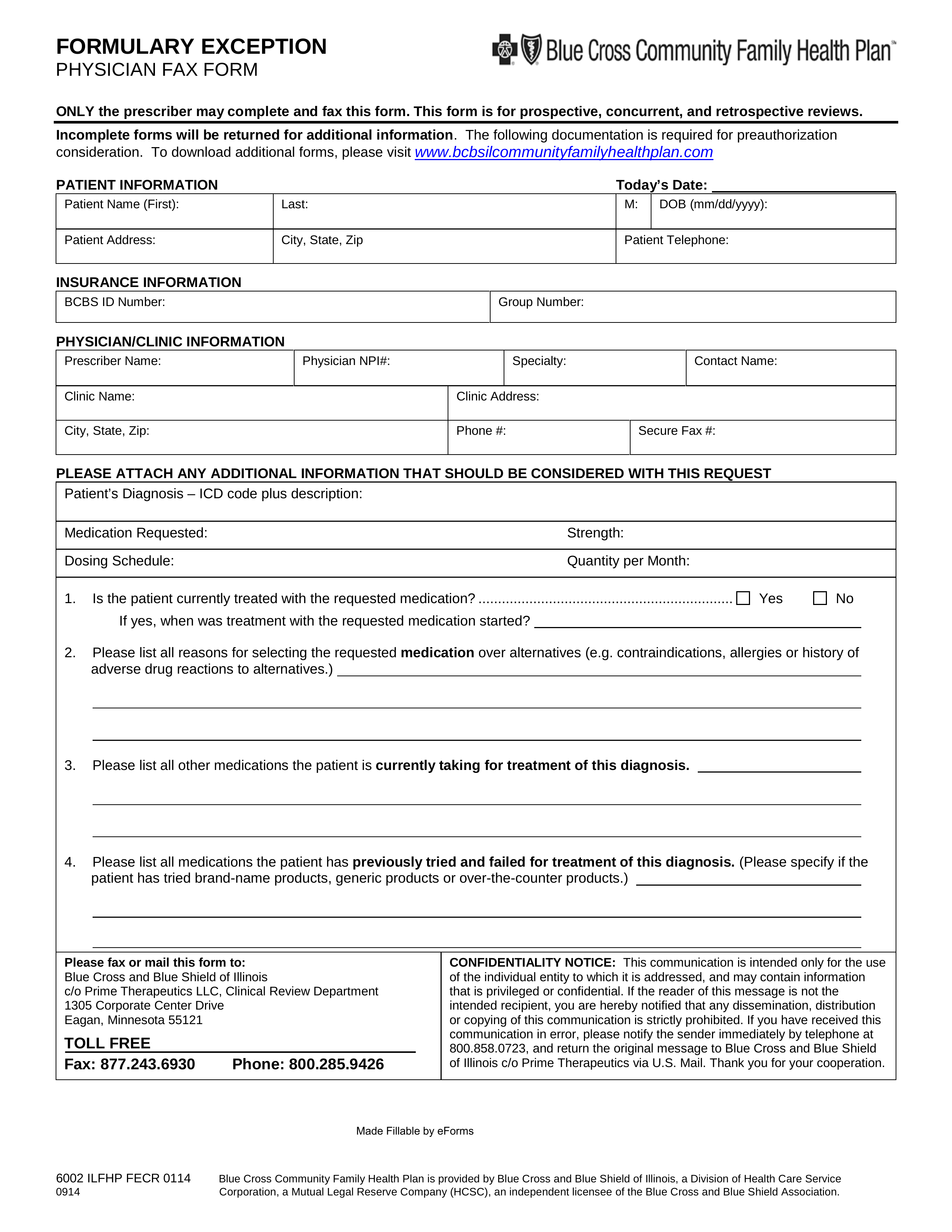 Free Prime Therapeutics Prior (Rx) Authorization Form - PDF