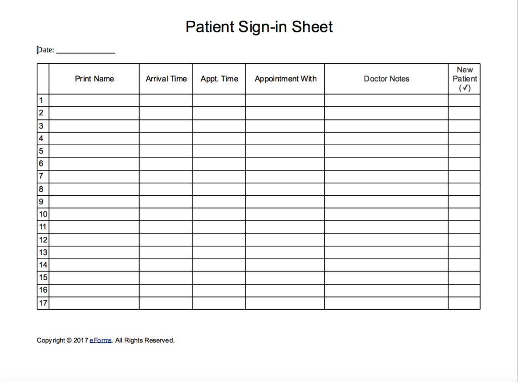 Patient sign in sheet extended template eforms free for Medical office sign in sheet template