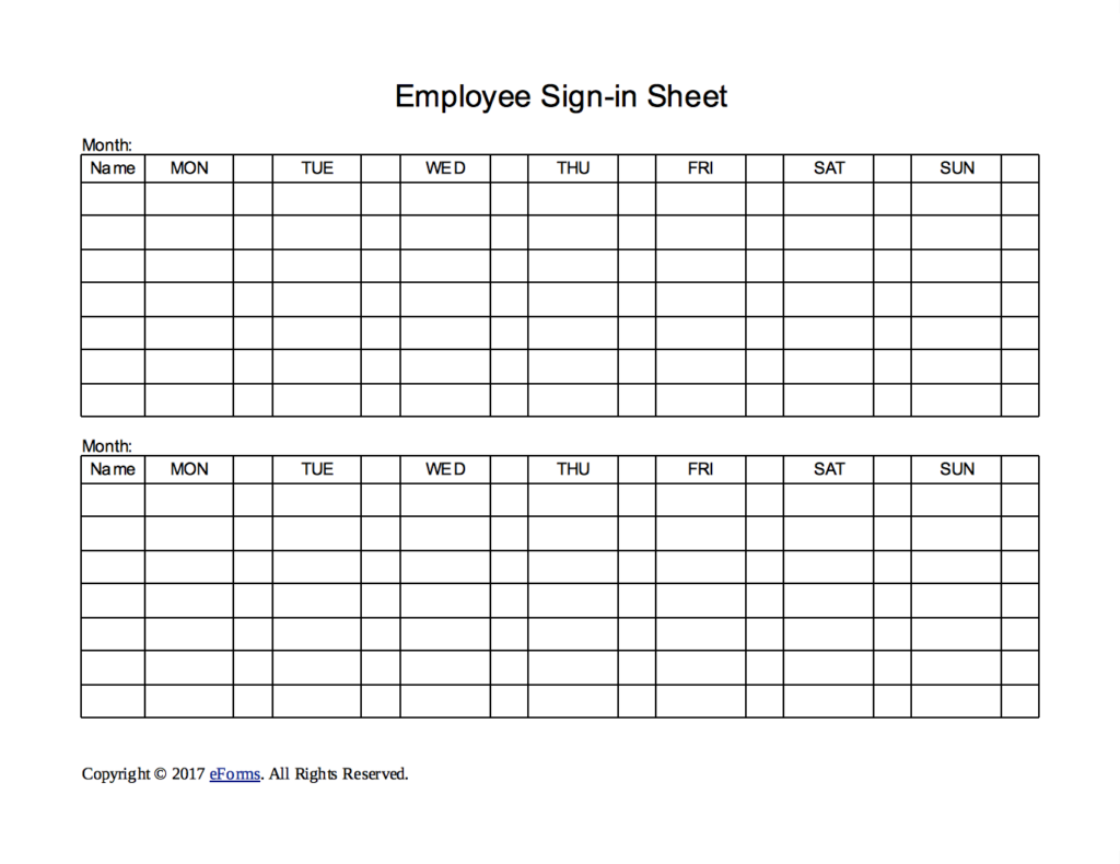 two week employee sign in sheet template eforms free fillable forms