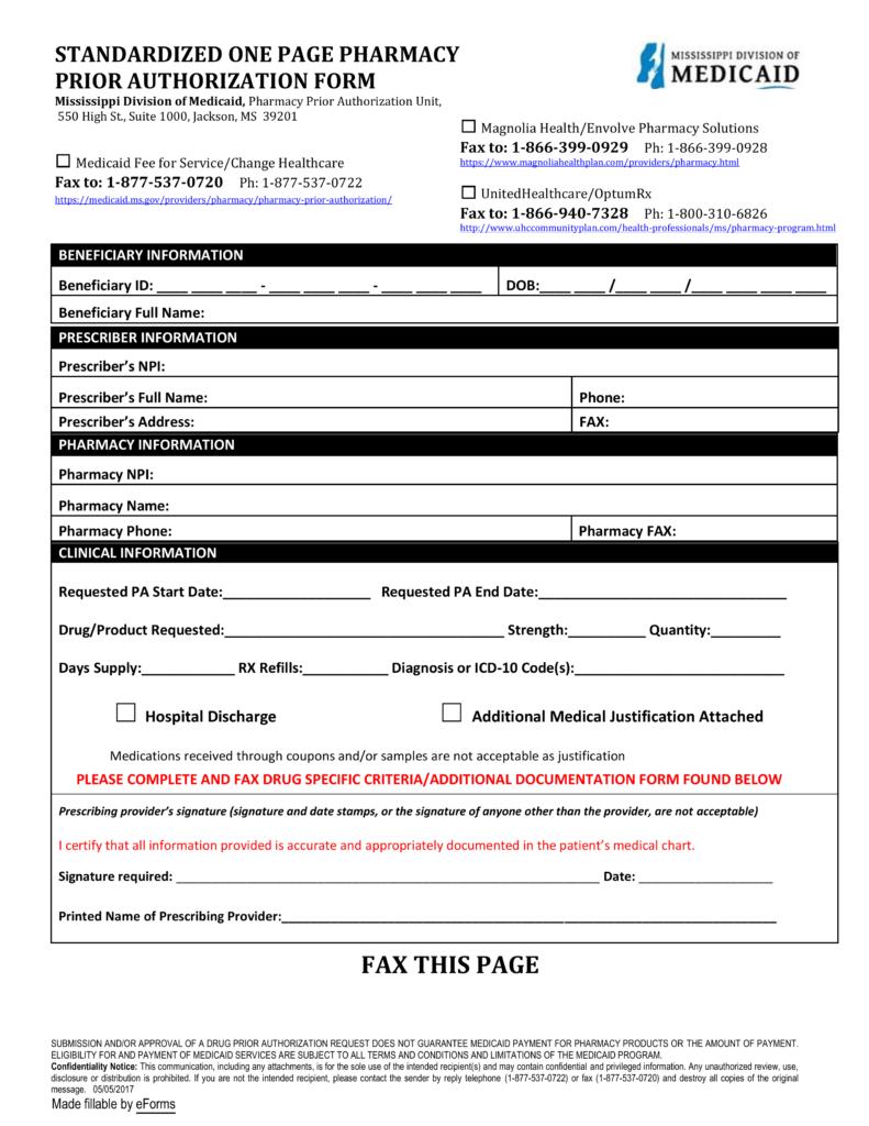 Free Mississippi Medicaid Prior (Rx) Authorization Form - PDF ...