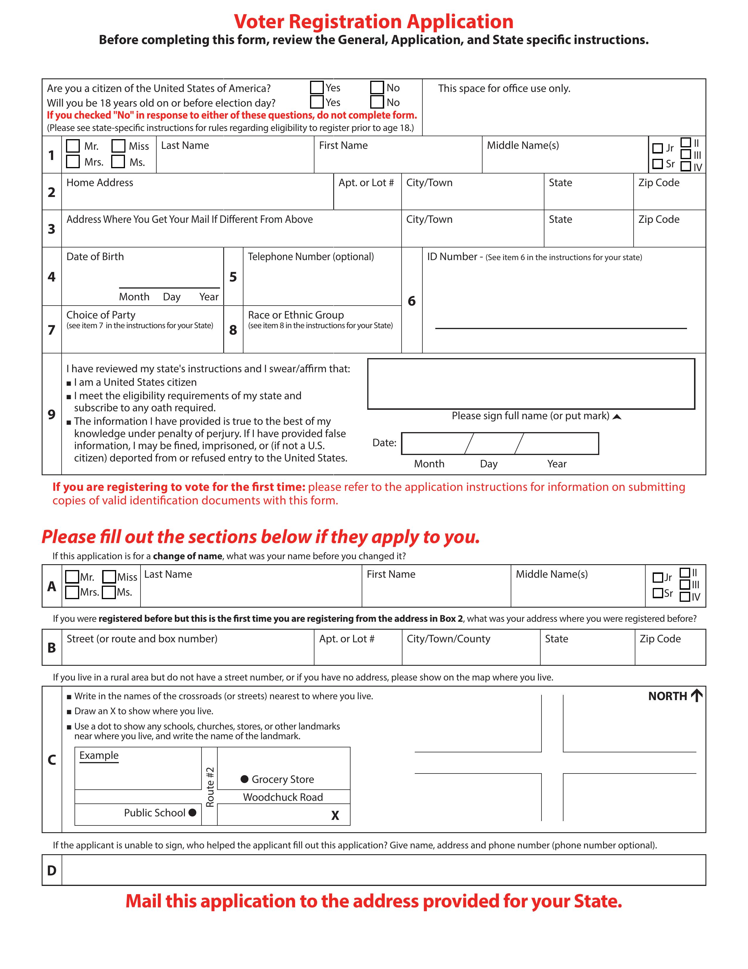Free Voter Registration Forms - PDF | eForms – Free ...