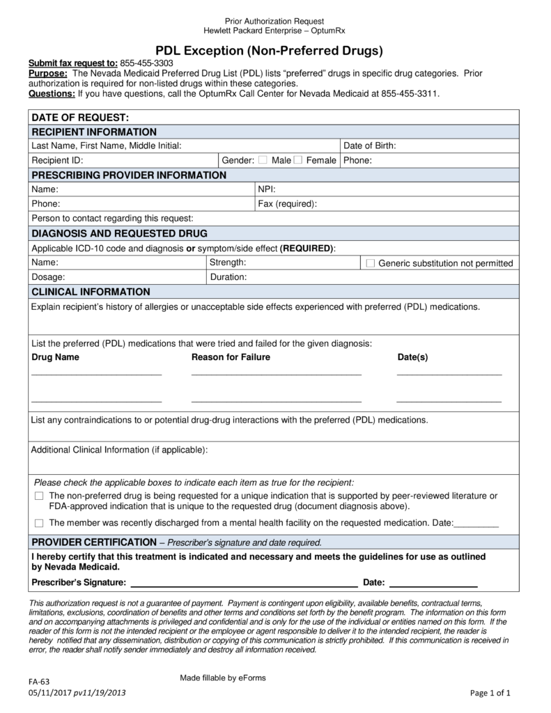 Free Nevada Medicaid Prior Authorization Form   PDF | EForms U2013 Free  Fillable Forms