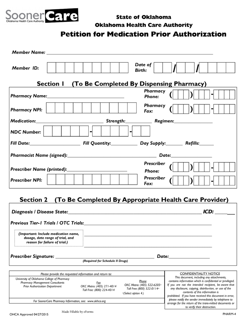 Marvelous Free Oklahoma Medicaid Prior Authorization Form   PDF | EForms U2013 Free  Fillable Forms