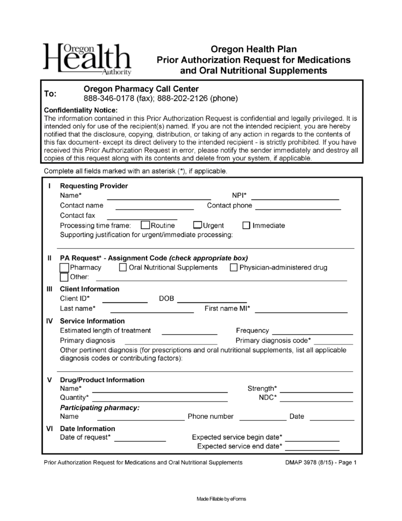 Free Oregon Medicaid Prior Authorization Form - PDF | eForms ...