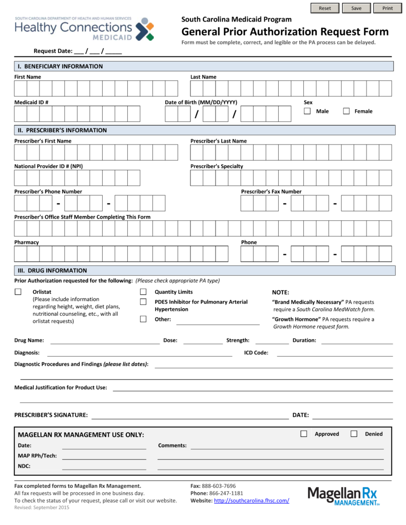 Free South Carolina Medicaid Prior Authorization Form - PDF ...