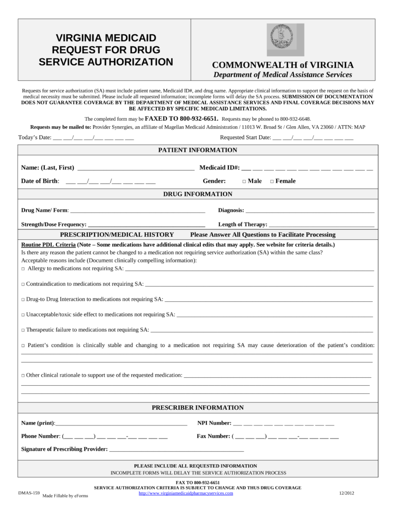 Free Virginia Medicaid Prior Authorization Form   PDF | EForms U2013 Free  Fillable Forms