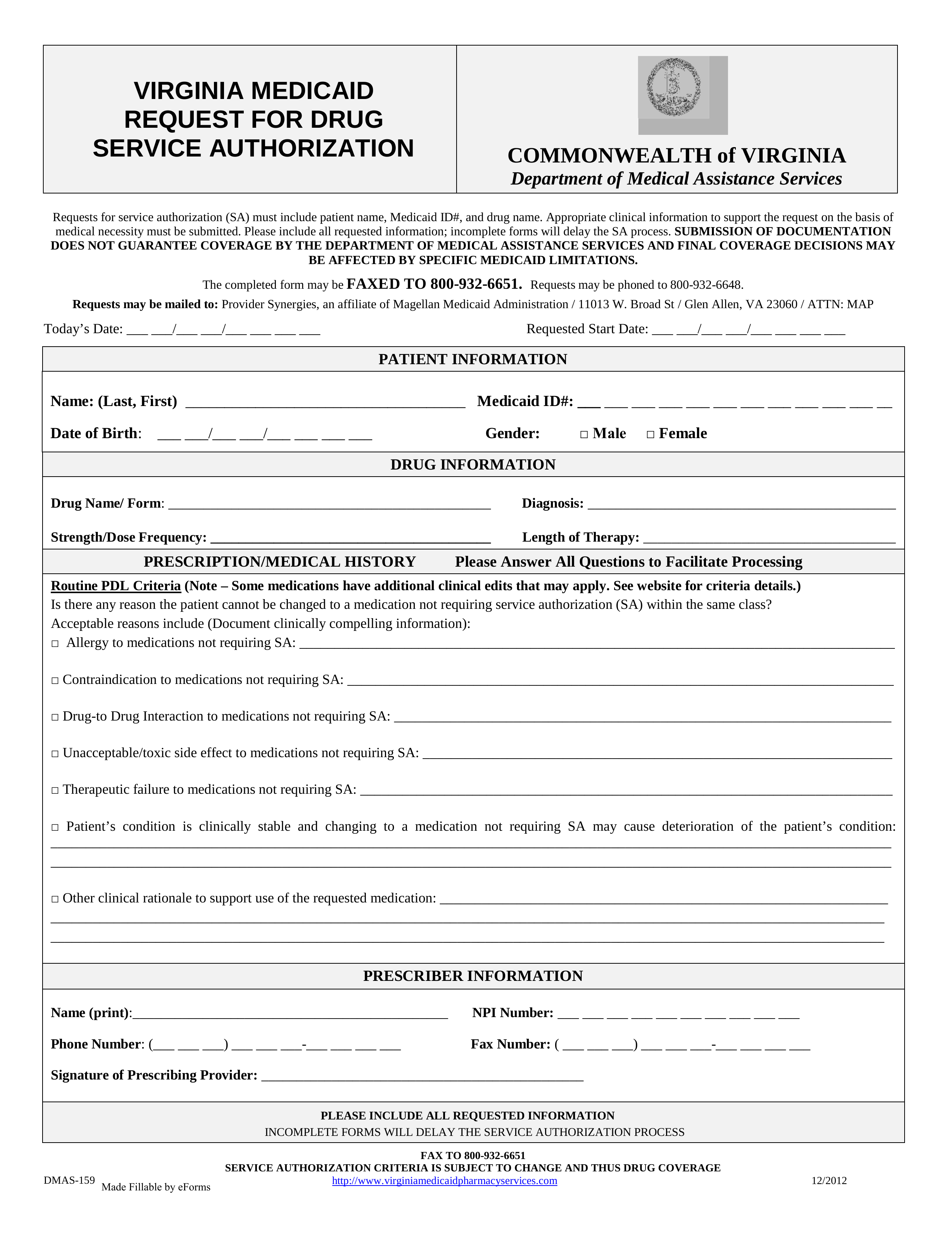 Bill Of Sale Virginia >> Free Virginia Medicaid Prior Authorization Form - PDF   eForms – Free Fillable Forms