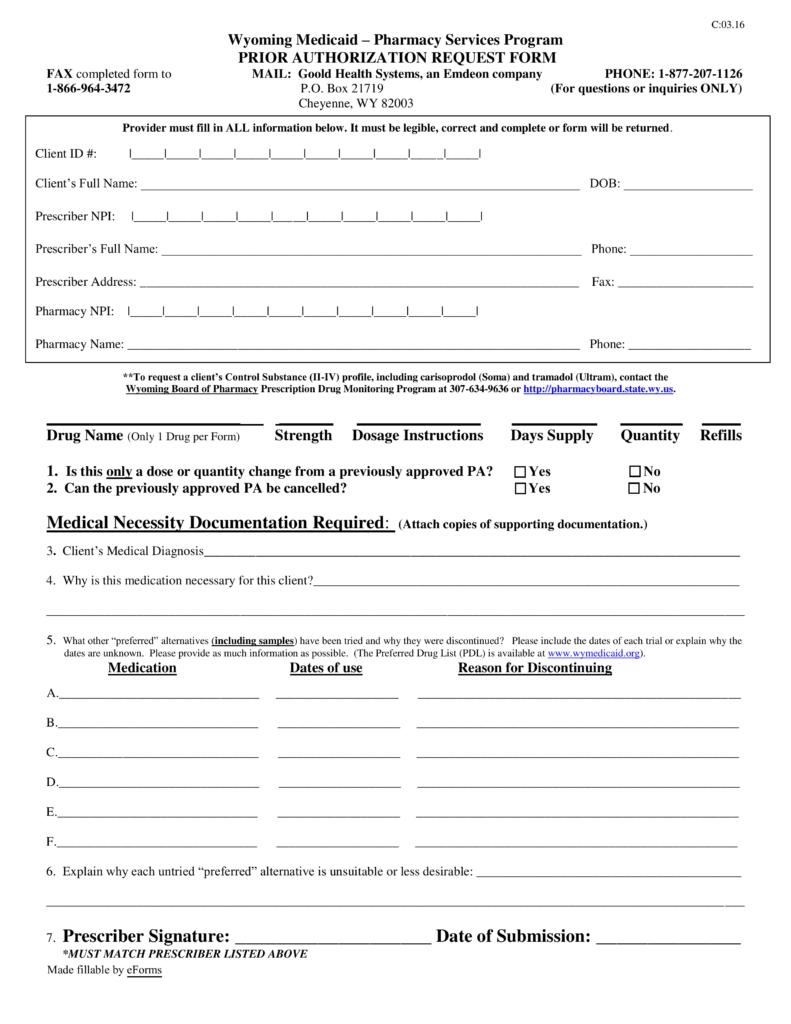 Free Wyoming Medicaid Prior (Rx) Authorization Form - PDF | eForms ...