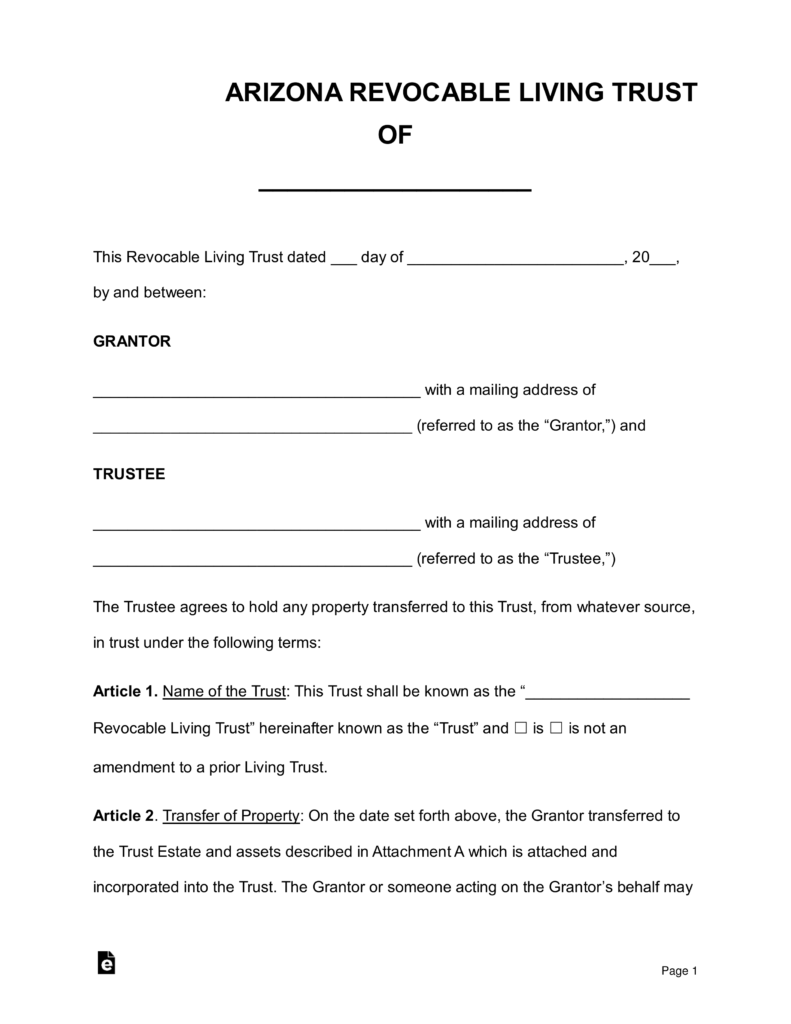 Free Arizona Revocable Living Trust Form - Word | PDF | eForms ...