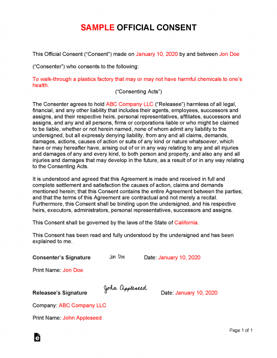 Free Consent Form Template Sample Pdf Word Eforms