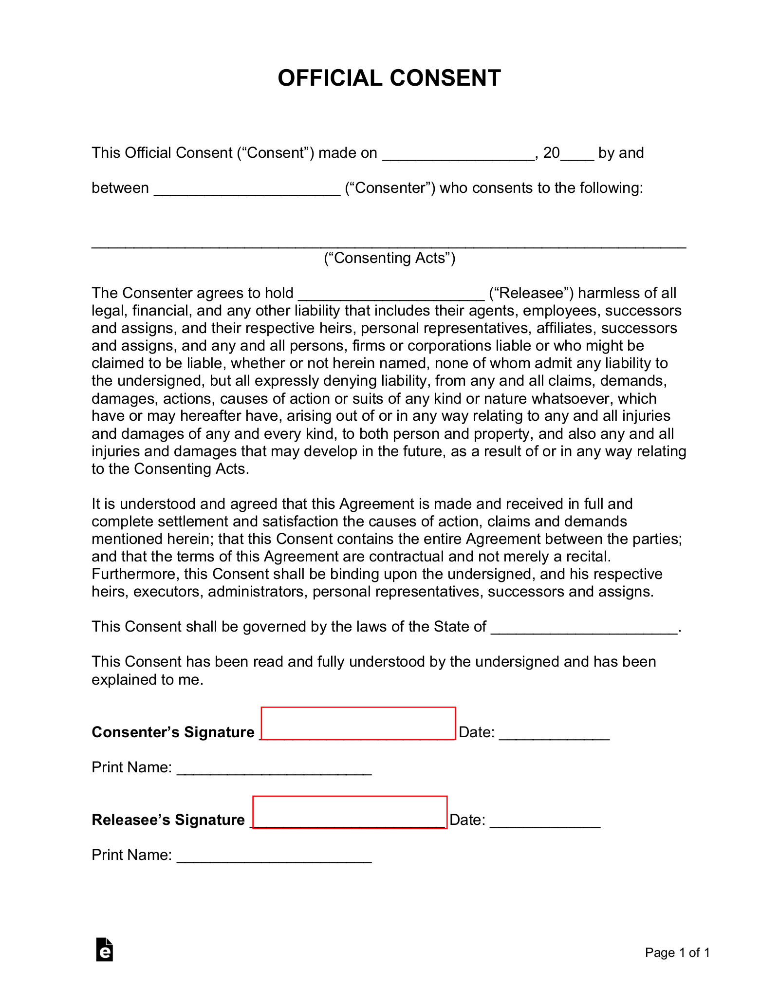 Free Consent Form Template   Sample   PDF   Word – eForms