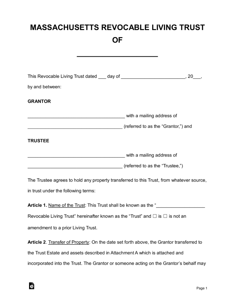 Free Massachusetts Revocable Living Trust Form - Word | PDF | eForms ...