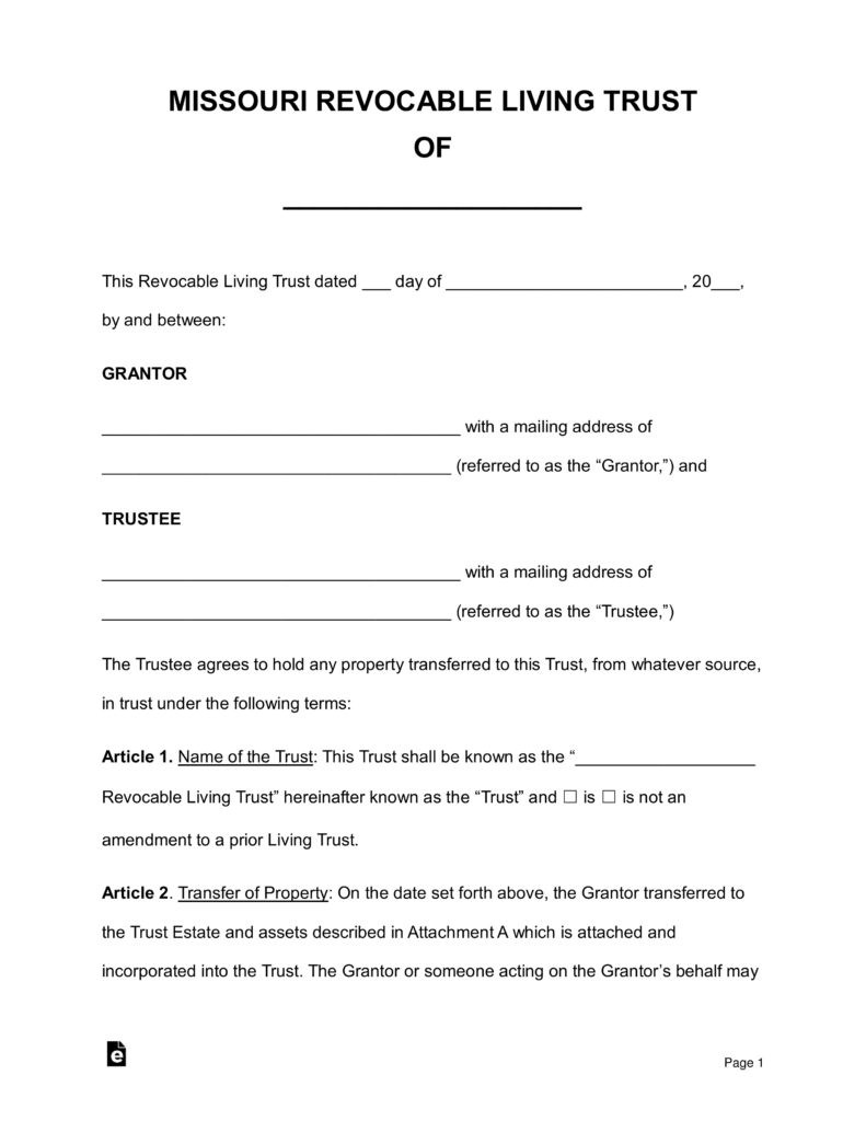 Free Missouri Revocable Living Trust Form Pdf Word