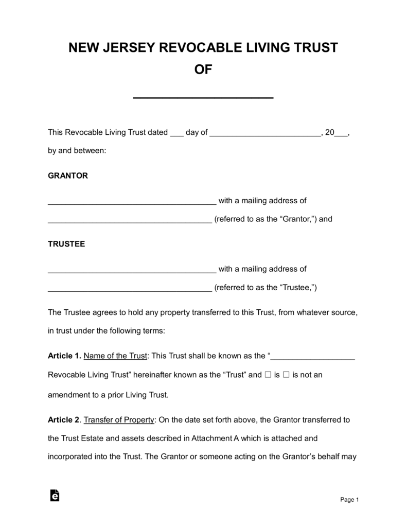Free New Jersey Revocable Living Trust Form Pdf Word