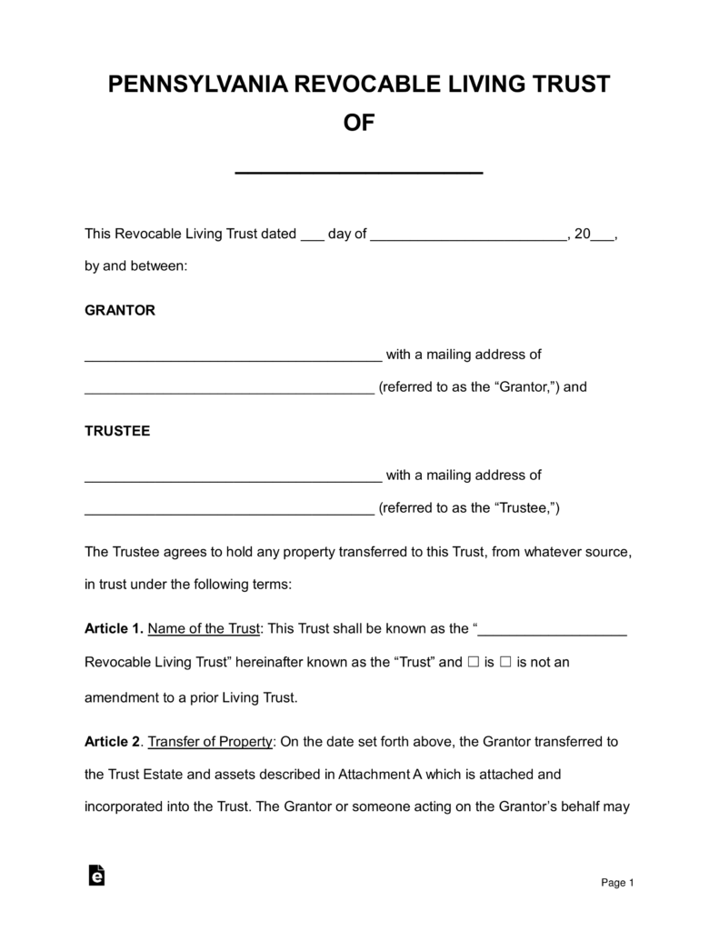 free pennsylvania revocable living trust form word pdf eforms free fillable forms. Black Bedroom Furniture Sets. Home Design Ideas