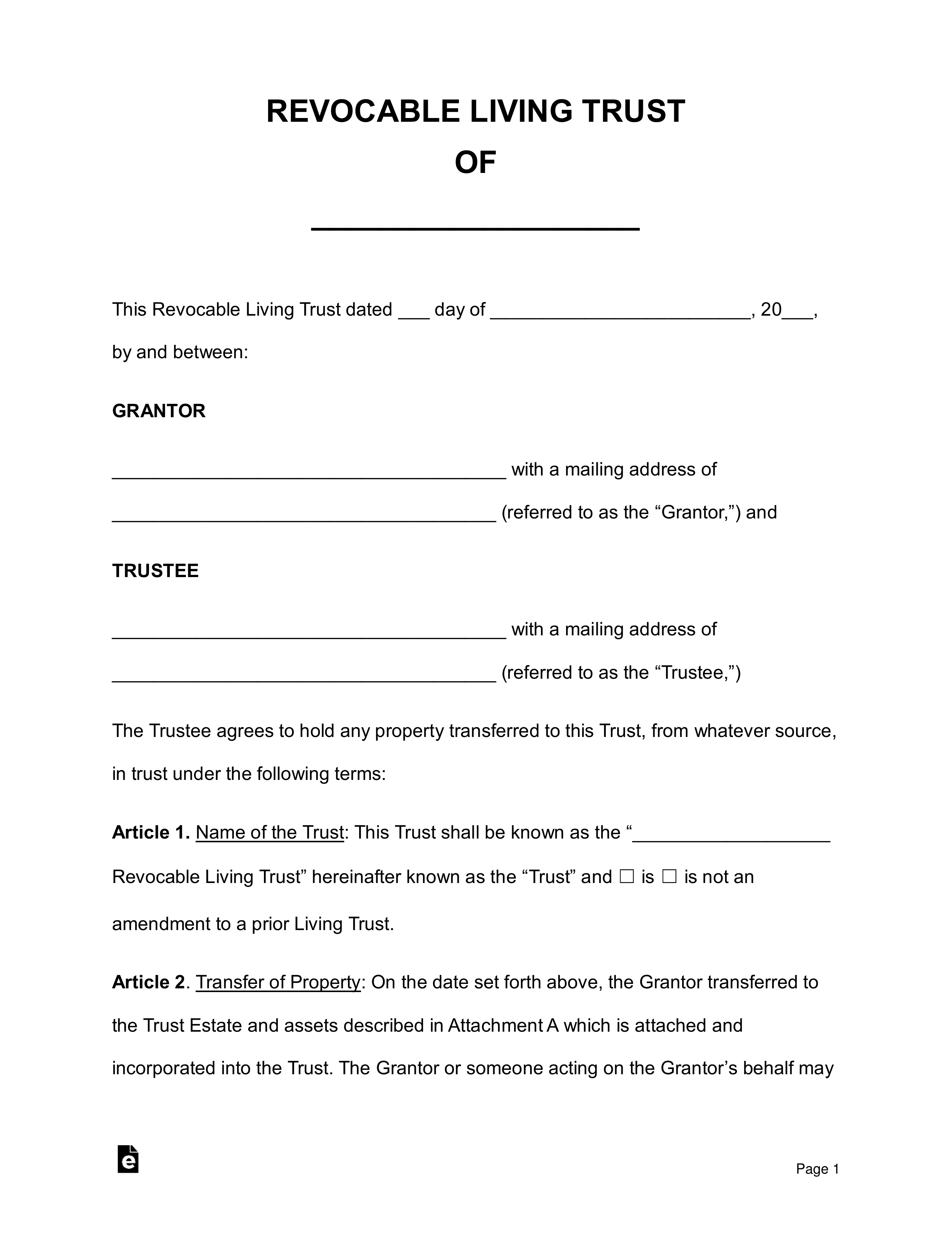 Free Revocable Living Trust Forms Pdf Word Eforms