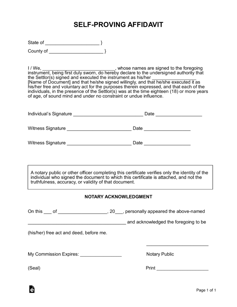 Free self proving affidavit form for living trusts and for Ohio living will template