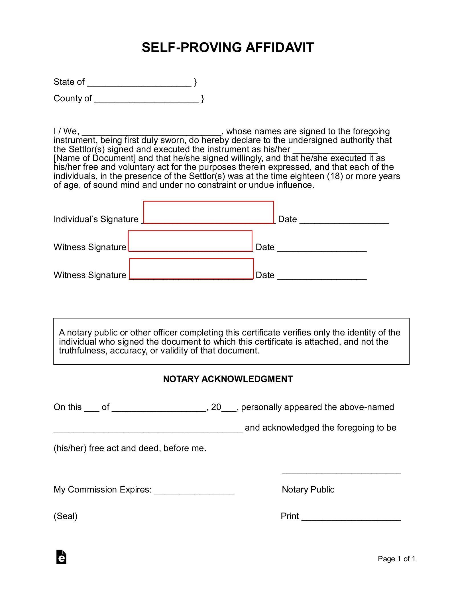 picture regarding Free Printable Codicil Form known as Self-Proving Affidavit Variety Connect toward a Will or Codicil