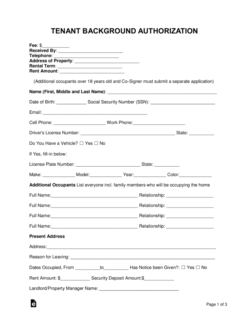 Free Tenant Renter Background Check Form Word Pdf Eforms