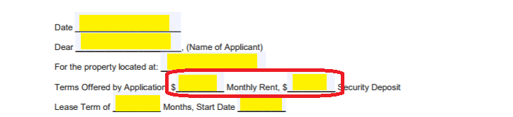 to further report on the applied property enter the monthly rent and the security deposit required for the rental property the applicant applied for