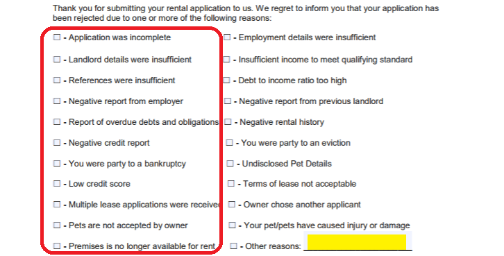 check all the statements that apply to why this application is rejected do not check inapplicable reasons