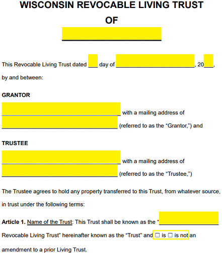 free wisconsin revocable living trust form -  | word | eforms ...