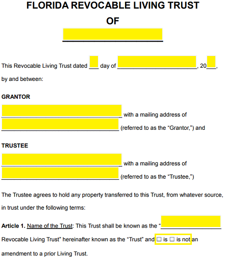 Free Florida Revocable Living Trust Form - Word | PDF | eForms ...