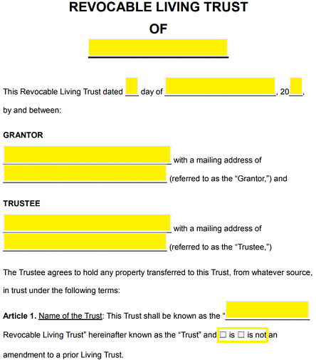 Free revocable living trust forms pdf word eforms free under article 1 create a name for the trust and check the box that applies to the type of document being created amended or new maxwellsz