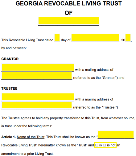 Free georgia revocable living trust form word pdf eforms step 3 article 4 contains a series of subsections that take effect once the grantor dies the first section section a will be a list of property along solutioingenieria Image collections