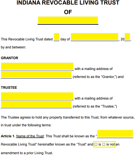 Free Indiana Revocable Living Trust Form - Word | PDF | eForms ...