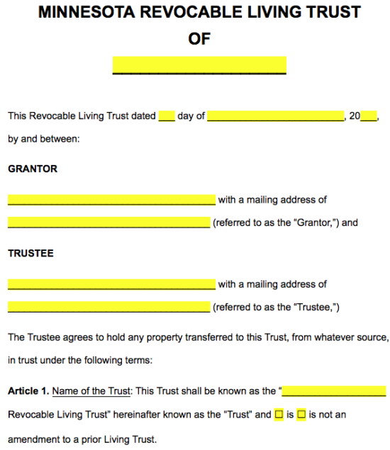 Free Minnesota Revocable Living Trust Form Word Pdf Eforms