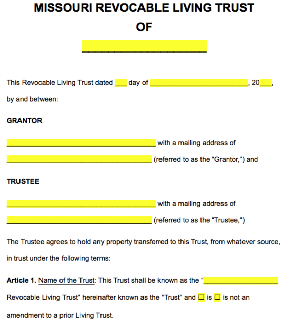 Free missouri revocable living trust form pdf word eforms in article 1 use the checkboxes to indicate whether this is a new trust or an amendment to an existing one maxwellsz