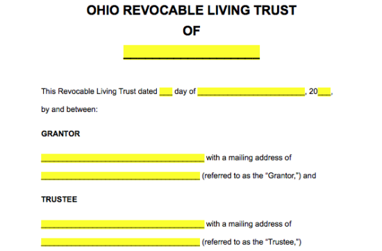 Free Ohio Revocable Living Trust Form Word Pdf Eforms Free