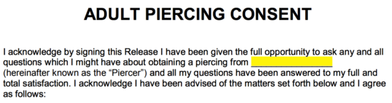 how to write a disclaimer piercing